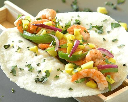 Tacos De Camarón Y Mango